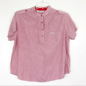 Vintage 80s Candy Stripe Red Popover Henley Top